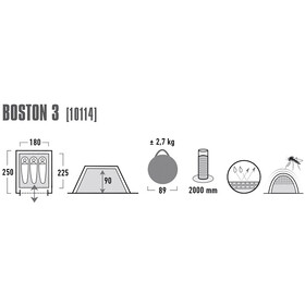 High Peak Boston 3 Teltta, aluminium/dark grey